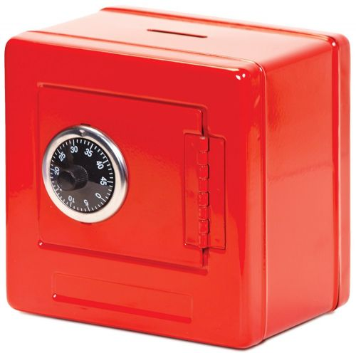 Kids Children Money Box Metal Locker Combination Storage Safe Piggy Bank Red